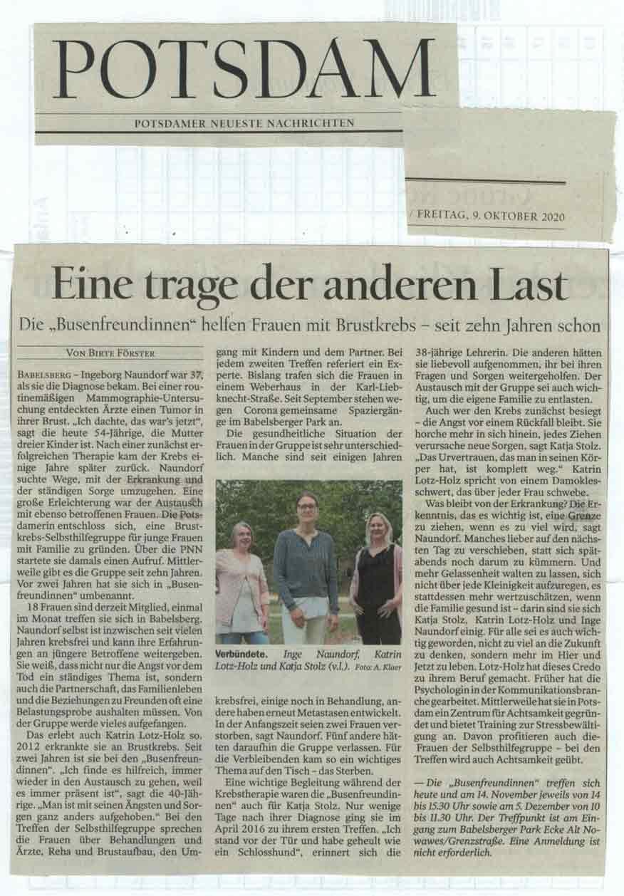 PNN Okt 2020 - Brustkrebs_Selbsthilfegruppe_Potsdam