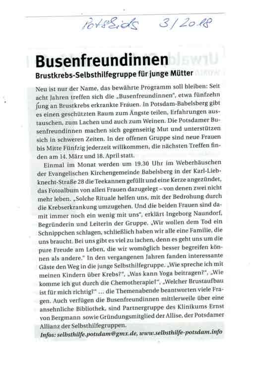 Potskids März 2018 - Brustkrebs_Selbsthilfegruppe_Potsdam
